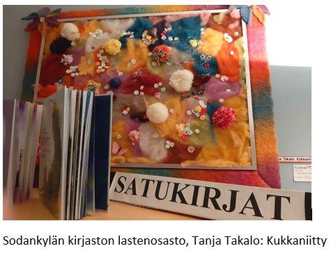 Sodankylän kirjaston lastenosastolla oleva taideteos: Tanja Takalo: Kukkaniitty